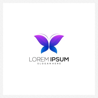 Logo butterfly blue and purple