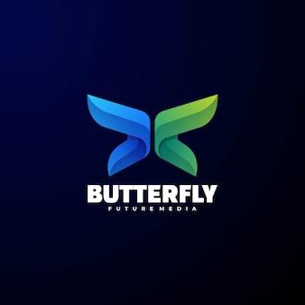 로고 나비 그라데이션 다채로운 스타일.