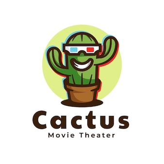 Логотип кактус талисман мультяшном стиле.