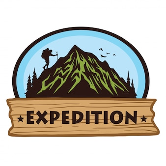 Logo for camping mountain hiking adventure, emblems, and badges.