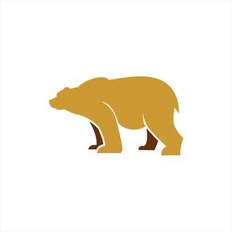 Logo cartoon bear simple animal vector