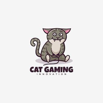 Logo  cat gaming simple mascot style.