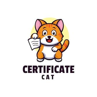 Логотип сертификат кошка талисман мультяшном стиле