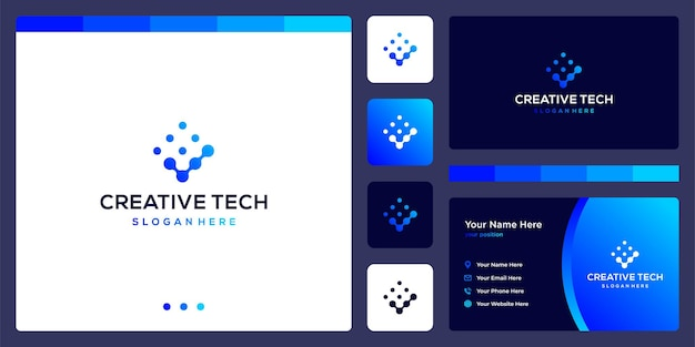 Logo check mark with tech style and gradient color. business card.