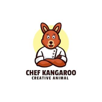 Логотип шеф-повар кенгуру талисман мультяшном стиле