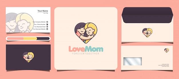 Logo child loves mom. mother's day