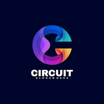 Logo circuit gradient colorful style.