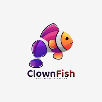 Logo  clown fish gradient colorful style.