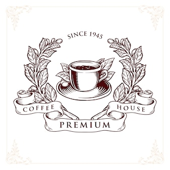 ロゴコーヒーハウスプレミアムバッジ
