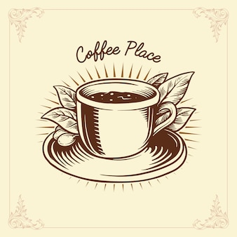 Logo coffee label drawing traditional