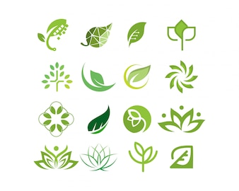 Logo collection leaf and tree vector