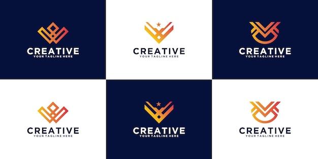 로고 컬렉션 편지 v 베테랑 디자인 영감