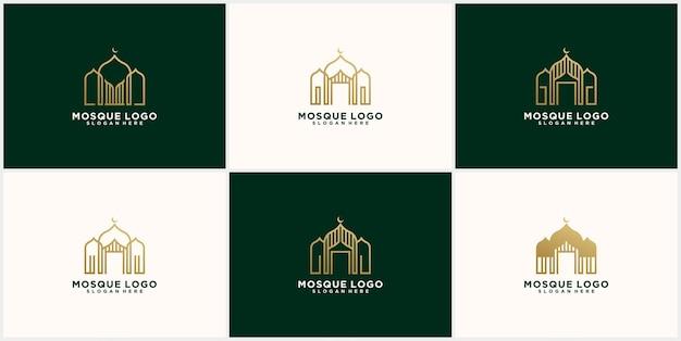 Коллекция логотипов mosque logo template design в золотом цвете