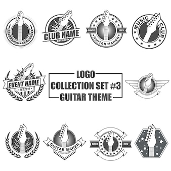 Logo collection set with guitar theme