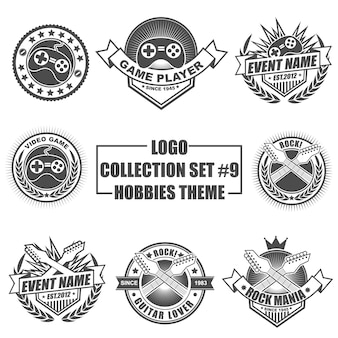 Logo collection set with hobbies theme