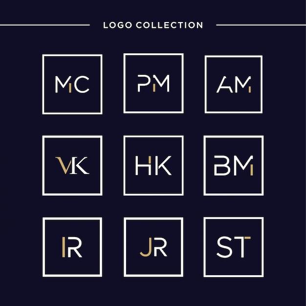 スクエア、高級、イニシャル、文字、エレガンス、スクエアロゴ、アイコン内の最初の文字のロゴコレクション