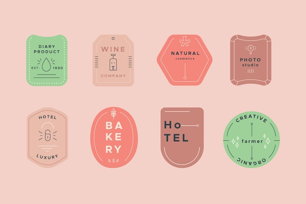 Logo collection with pastel colors template