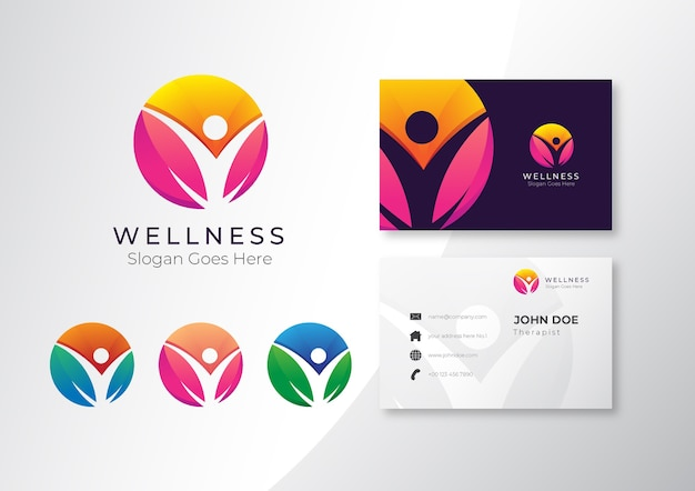 Logo colorful health and wellness spa with business card  design