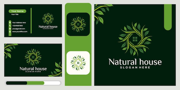 Logo combination of leaves and house nature home logo design flower home logo design beautiful