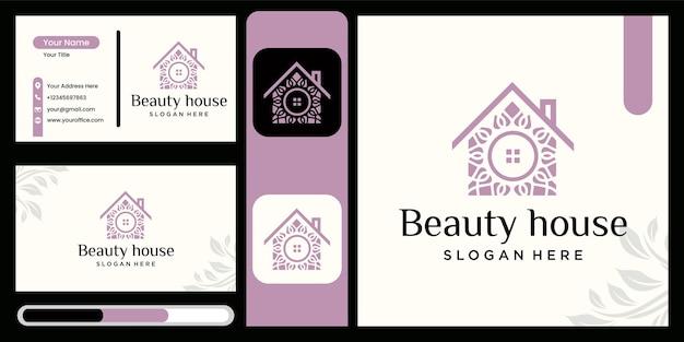 로고 꽃과 집의 조합 자연 홈 로고 디자인 아름다운 꽃 집 로고 디자인