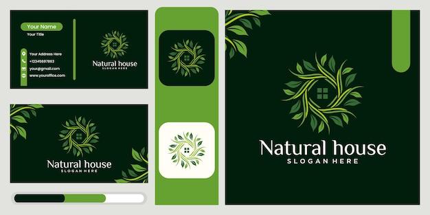로고 나뭇잎과 집의 조합 자연 홈 로고 디자인 꽃집 로고 디자인 아름다운
