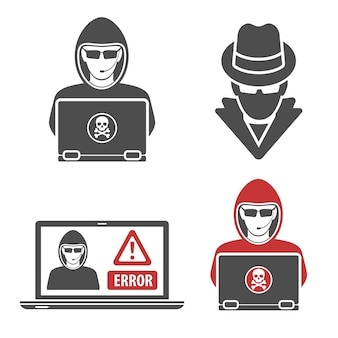 로고 컴퓨터 해커와 스파이는 노트북으로 설정합니다. 사이버 범죄와 인터넷 보안 개념입니다. 평면 스타일 블랙 아이콘 해커입니다. 고립 된 벡터 일러스트 레이 션