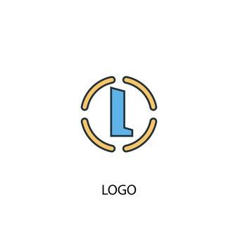 Концепция логотипа 2 цветной значок линии. простой желтый и синий элемент иллюстрации. логотип концепция наброски символ дизайн