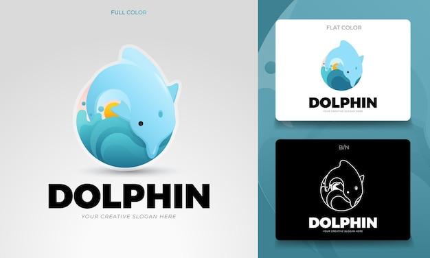 Концепция логотипа с редактируемыми векторами дельфинов