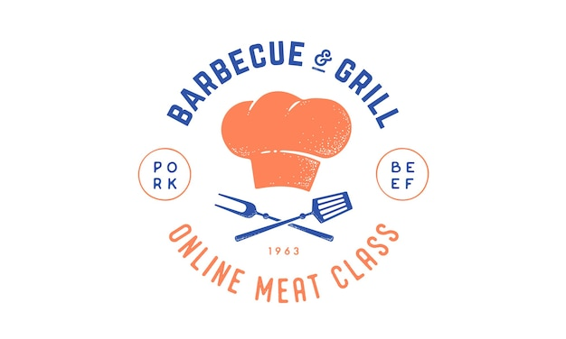 Logo for cooking school class with icon bbq tools