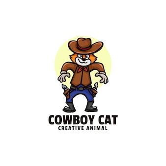 Логотип ковбойский кот талисман мультяшном стиле