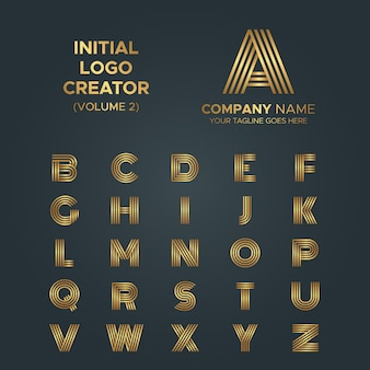Logo creator, from a to z letters line art stripe luxury logo collection