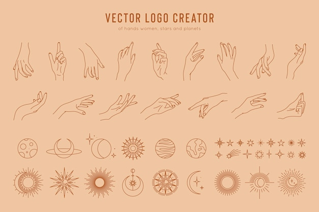 Logo creator of linear hand gestures moon phases stars sun and planets