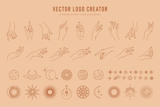 Логотип создатель линейных жестов рук, фазы луны, звезды, солнце и планеты