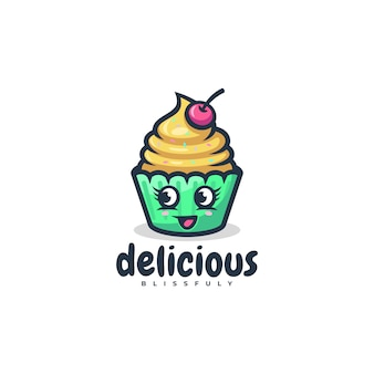 Logo  cup cake simple mascot style.