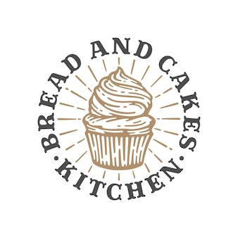Logo cupcakes bakery in doodle vintage illustration, label bread and cakes template.