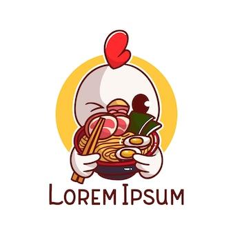 ロゴかわいい鶏ラーメンマスコット漫画 Premiumベクター
