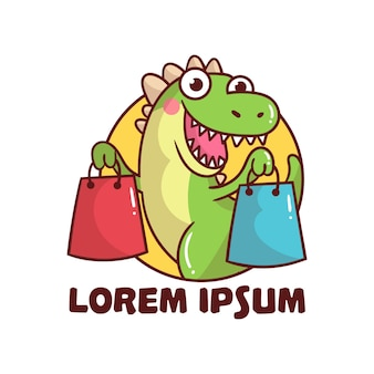 Logo cute dinosaur shopping mascot cartoon