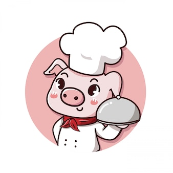Logo cute and friendly pig chef holds a delicious steak