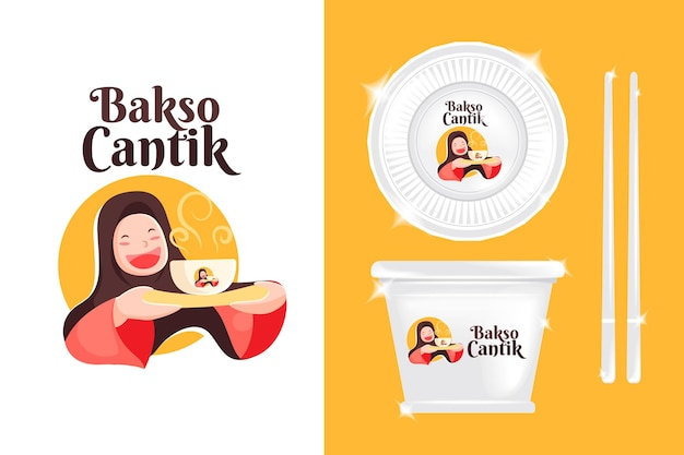 Logo cute girl for culinary business