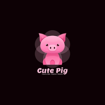Logo cute pig gradient colorful style.