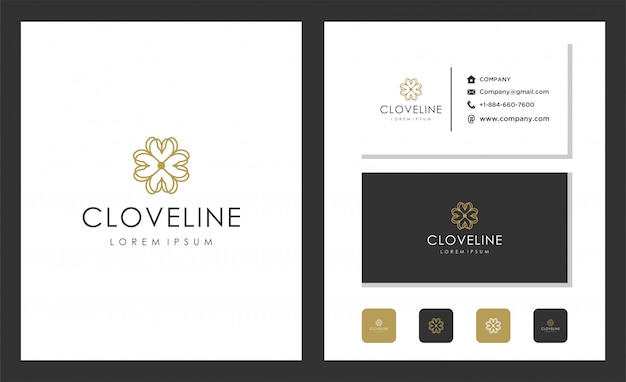 Logo decoration of clove patterns with lines