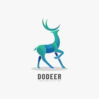 ロゴ鹿グラデーションカラフルなスタイル