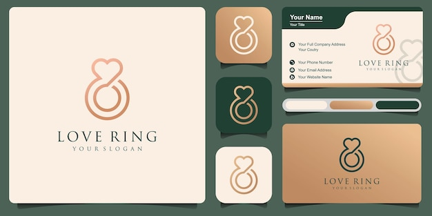 Шаблон вектора абстрактного взаимодействия дизайна логотипа. дизайн иллюстрации символа роскошных ювелирных изделий бизнеса логотипа. векторный icon интернет любви кольцо с бриллиантом.