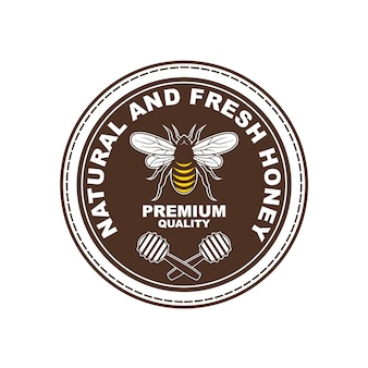 蜂蜜製品のロゴデザイン、バッジ、バナー、ソーシャルメディア広告およびラベル