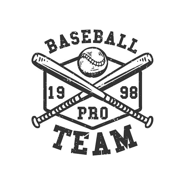 Logo design baseball pro team 1998 with baseball and crossed baseball bets vintage illustration