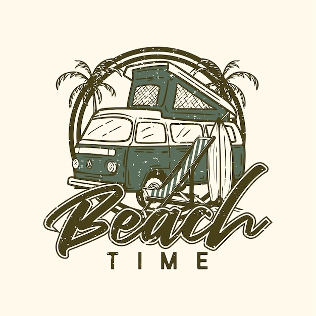 Logo design beach time on the beach with beach elements vintage illustration