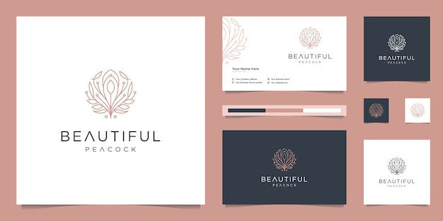 Logo design beautiful peacock and business card template. minimalist luxury fashion line designs, jewelry, salon, spa.