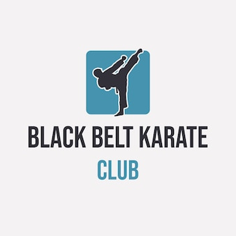 Logo design black belt karate club with silhouette man doing karate simple logo design