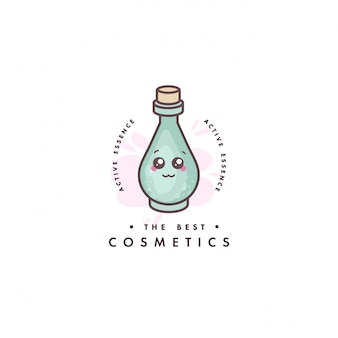 Logo design emblem or badge for beauty care. asian cosmetics - flask of lotion. kawaii faces.