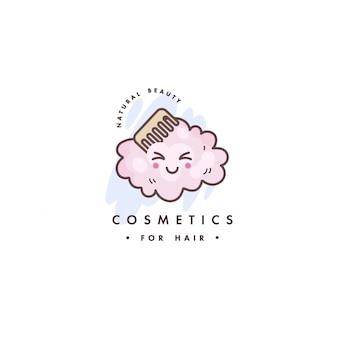 美容ケアのためのロゴデザインのエンブレムやバッジ。アジア化粧品-ヘアケア用化粧品。かわいい顔。